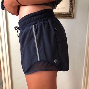 """Lululemon Navy Hotty Hot Shorts - Long 4"""""""